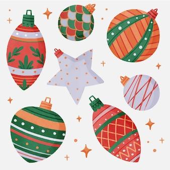 Enfeites de bolas de natal coloridas em aquarela