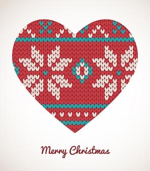 Enfeites de coração de natal - cartão de malha perfeita