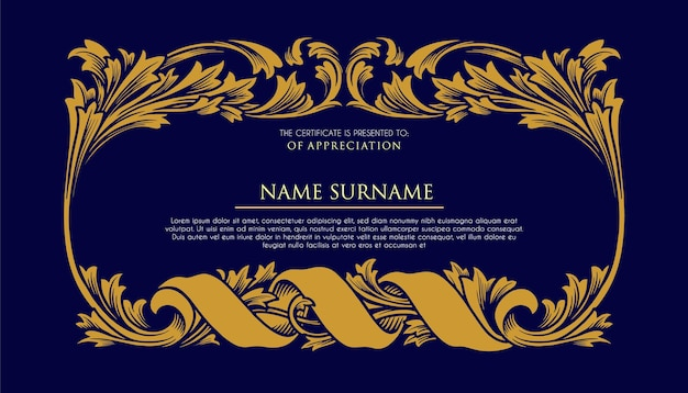 Enfeites de moldura de certificado ilustrações de luxo