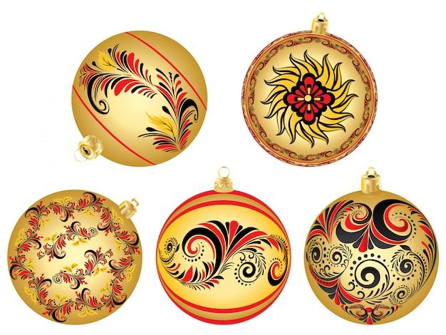 Enfeites de natal com padrões folclóricos