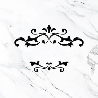 Enfeites luxuosos em preto vetor florido quadro