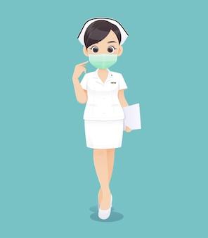 Enfermagem usa uma máscara protetora, doutor mulher dos desenhos animados ou enfermeira em uniforme branco, segurando uma prancheta, ilustração vetorial no design de personagens
