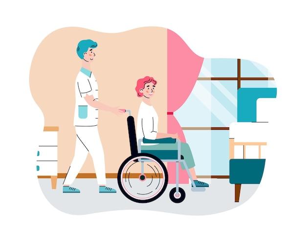 Enfermeira ajudando idosa com deficiência em uma casa de repouso, uma ilustração vetorial