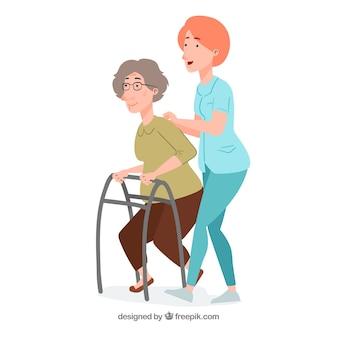 Enfermeira, ajudando, mulher idosa