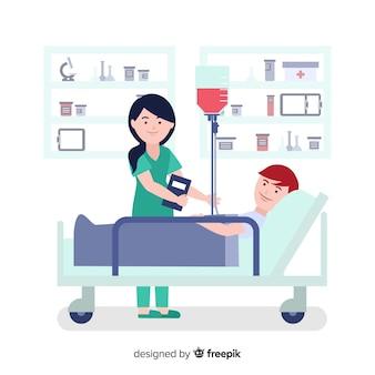 Enfermeira, ajudando o fundo do paciente
