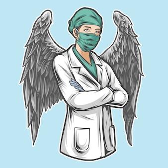Enfermeira anjo com asas