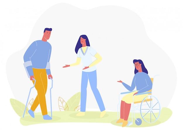 Enfermeira assist homem andando axilla girl em cadeira de rodas