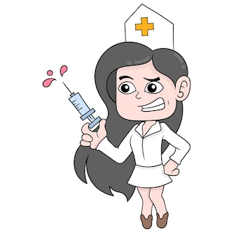 Enfermeira bonita e sexy traz injeção para vacina, arte de ilustração vetorial. imagem de ícone do doodle kawaii.