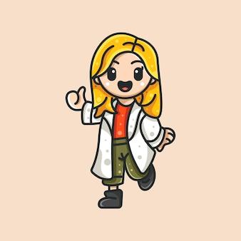 Enfermeira bonita para etiqueta e ilustração do logotipo do ícone de personagem