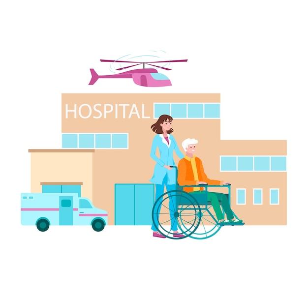 Enfermeira carrega paciente em cadeira de rodas, clínica de tratamento profissional.