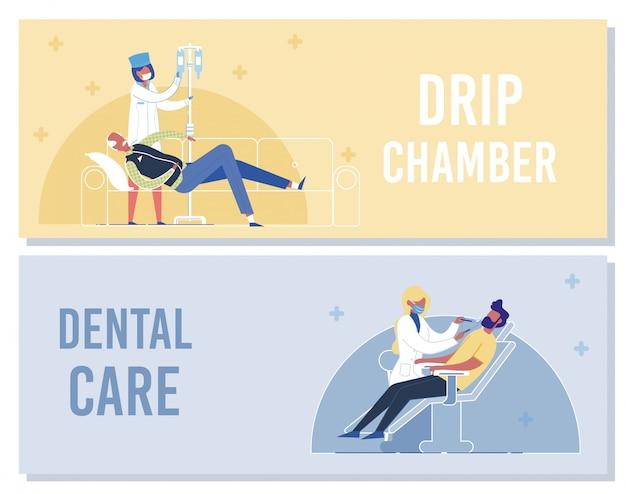 Enfermeira colocar conta-gotas para dentista paciente verificar os dentes