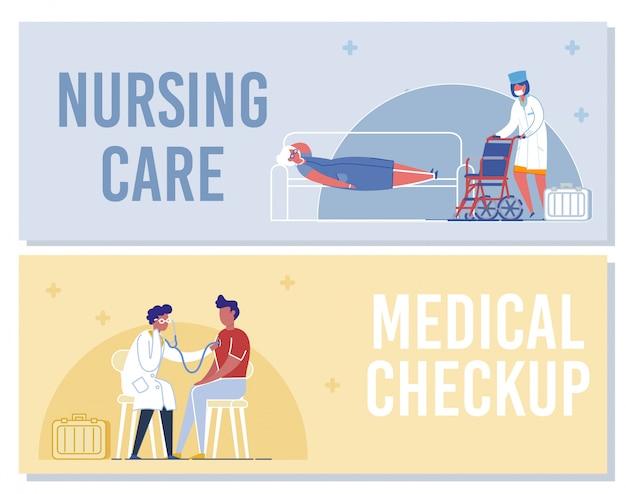 Enfermeira com cadeira de rodas médico examinando homem paciente