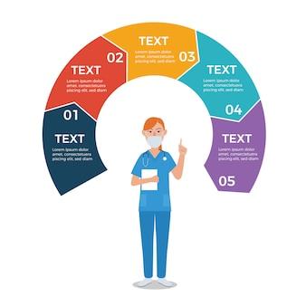 Enfermeira, com, círculo, setas, infographic, modelo
