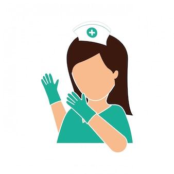 Enfermeira com imagem de ícone de luvas