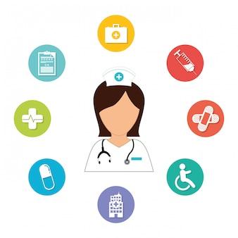 Enfermeira com imagem de ícone de produtos de diagnóstico