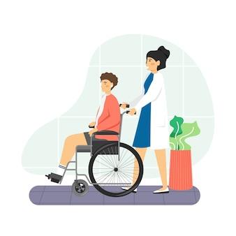 Enfermeira com paciente deficiente sentado em cadeira de rodas no hospital
