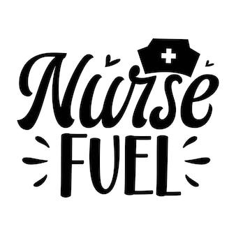 Enfermeira combustível elemento único de tipografia premium vector design