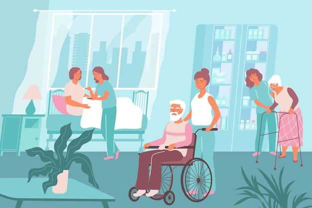 Enfermeira composição hospitalar várias enfermeiras trabalham em uma casa de repouso e ajudam a ilustração de idosos
