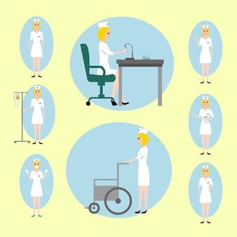 Enfermeira conjunto ilustração vetorial, assistente de laboratório em diferentes poses com várias emoções, trabalhando com microscópio, com cadeira de rodas, personagem
