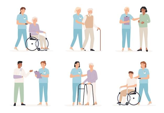 Enfermeira cuida do paciente. médicos de família com pessoas no hospital, exame de raio-x