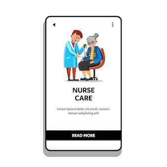 Enfermeira cuidados saúde mulher velha pressão arterial
