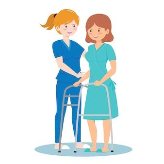 Enfermeira cuidando de pessoas