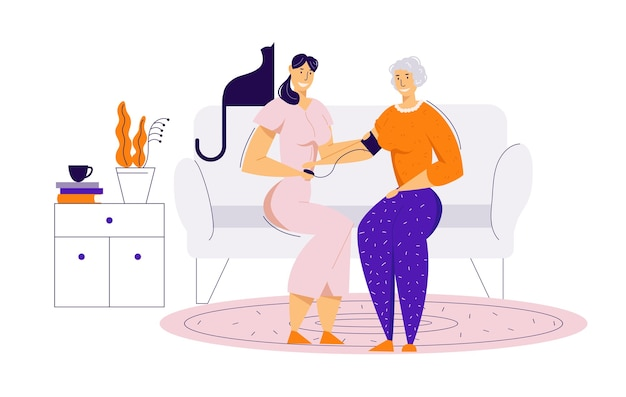 Enfermeira cuidando de uma mulher idosa, medindo a pressão arterial. conceito de cuidados de saúde de tratamento médico com personagem feminina sênior e médico.