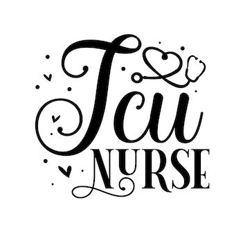 Enfermeira da uti com letras de estilo único arquivo de desenho de vetor premium