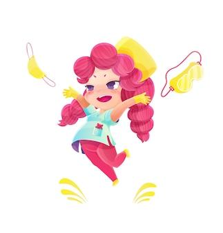 Enfermeira de desenho animado pulando com cabelo rosa