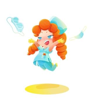 Enfermeira de desenho animado pulando com cabelo vermelho
