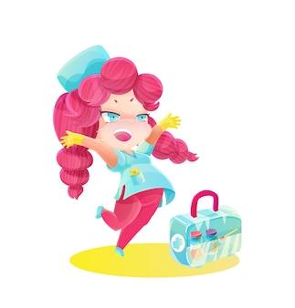 Enfermeira de desenho animado pulando com caixa de vacina