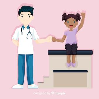 Enfermeira de mão desenhada ajudando o fundo do paciente