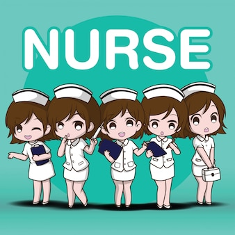 Enfermeira de personagem de desenho animado bonito conjunto.