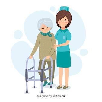 Enfermeira desenhada de mão com o paciente