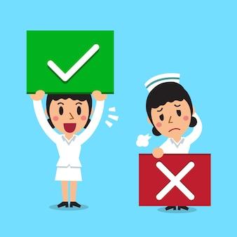 Enfermeira dos desenhos animados com sinais de certo e errados