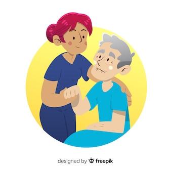 Enfermeira dos desenhos animados, cuidando do paciente