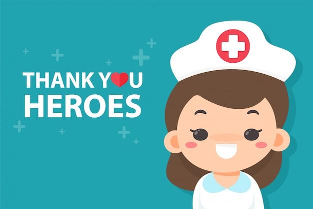 Enfermeira dos desenhos animados feliz em ver uma mensagem agradecendo ao herói cansado de trabalhar durante a pandemia do vírus corona.