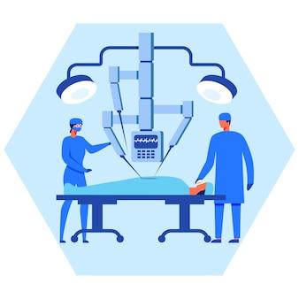 Enfermeira e cirurgião operam paciente com robô ajuda