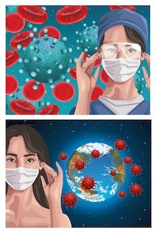 Enfermeira e mulher usando máscara de fase com o planeta terra, proteção