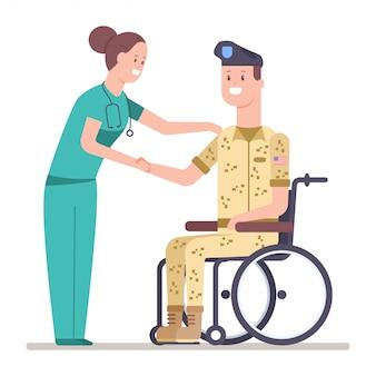 Enfermeira e soldado veterano em uniforme militar em uma cadeira de rodas