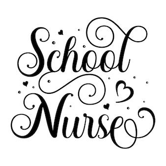 Enfermeira escolar elemento de tipografia única premium vector design