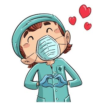 Enfermeira fazendo um coração com as mãos