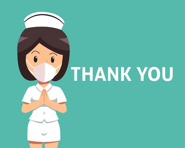 Enfermeira feminina de desenhos animados usando máscara protetora com palavra de agradecimento