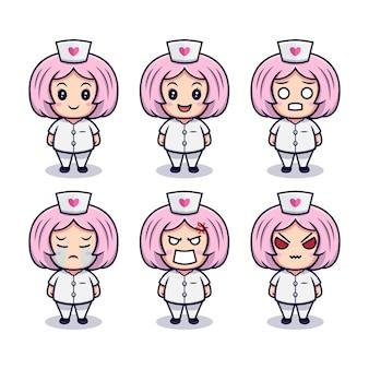 Enfermeira fofa com conjunto de expressões diferentes