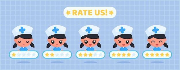 Enfermeira fofa segurando placa de classificação por estrelas para pesquisa de satisfação do cliente de serviços de saúde