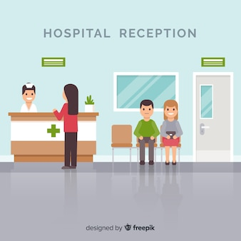 Enfermeira, freqüentando, paciente, hospitalar, recepção, ilustração