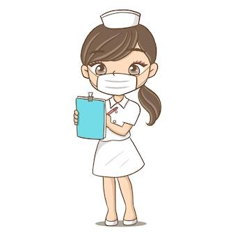 Enfermeira linda garota linda tomando notas personagens desenhando mangá anime dol kawaii hospit