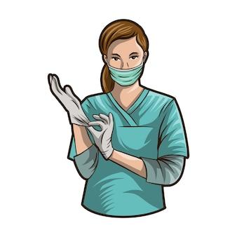 Enfermeira linda vestindo luva médica ilustração isolado no fundo branco
