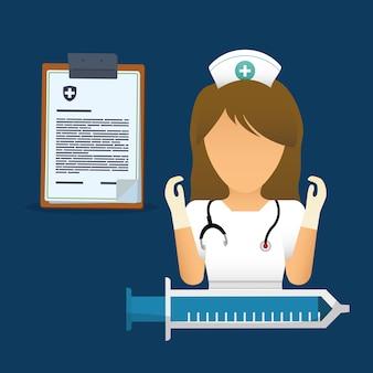 Enfermeira mala primeiros socorros prancheta relatório médica