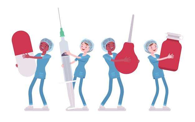 Enfermeira masculina, feminina e grandes ferramentas. jovens trabalhadores em uniforme hospitalar segurando enema gigante, seringa, pílula. medicina, conceito de saúde. estilo cartoon ilustração, fundo branco